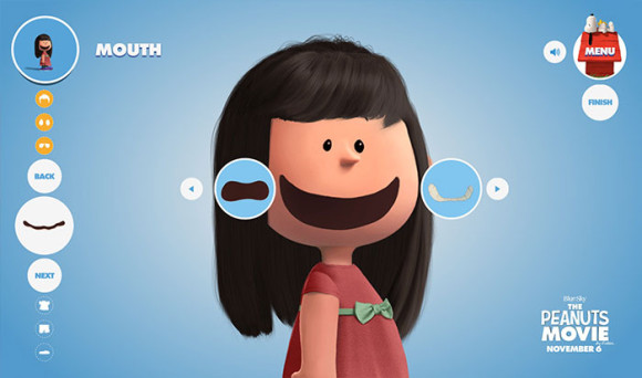 スヌーピーピーナッツ風のキャラクターが作れる「Get Peanutized」口がピーナッツ風