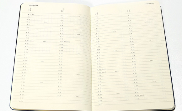 moleskine(モレスキン)4月始まり日本語ダイアリー年間プランニングページ