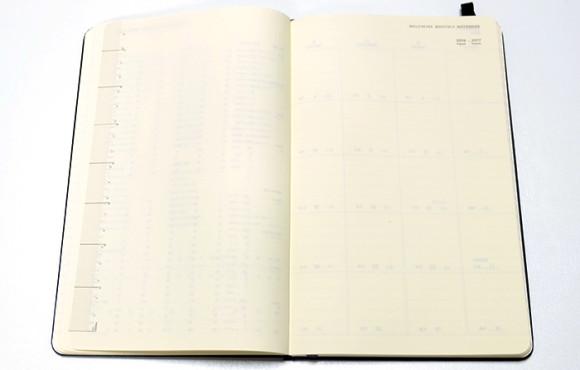 moleskine(モレスキン)4月始まり日本語ダイアリー定規と白紙のページ
