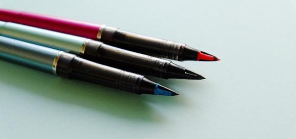ぺんてるトラディオ・プラマン赤・青・黒の3色