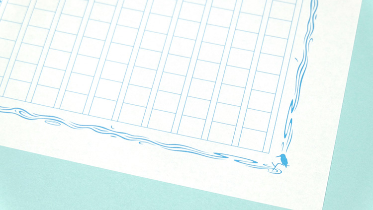 ISOT第25回日本文具大賞2016デザイン部門優秀賞のあたぼうステーショナリー「飾り原稿用紙・碧翡翠」カワセミ