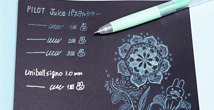 PILOT滑らかな書き味のゲルインキボールペン「juice(ジュース)」黒い紙