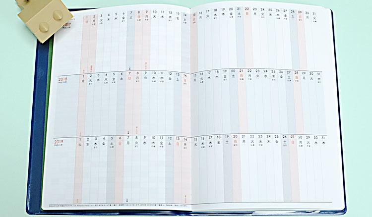 アーティミス(ARTEMIS)2017年手帳3年連用ダイアリー ブロックタイプ