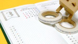 icco nicoの「貼暦(ハルコヨミ)」縦組。数字と曜日の漢字の2本セットのマスキングテープを使ってみた