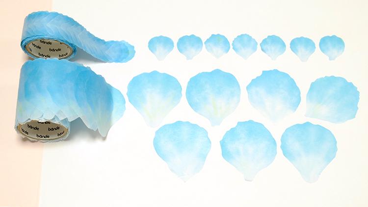 「bande(バンデ)」のマスキングロールステッカー「花びらミニ ブルー」「花びら ブルー」